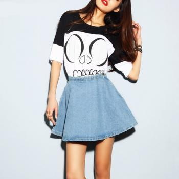 Denim Skirt High Waist Mini Skater flared puff vintage summer 2014 cute women